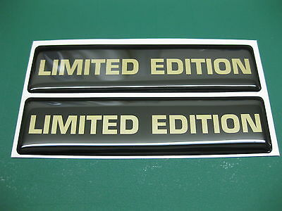 2 LIMITED EDITION DOMED STICKERS Gold On Black 120mm X 30mm • 4.74£