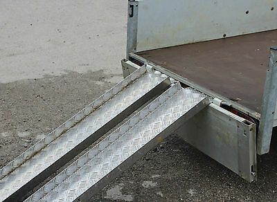 TRAILER RAMPS 1 Pair CHEQUER PLATE 48  Long 6  Wide & 1.5  Folded Sides X 3 Mm • 46.20£