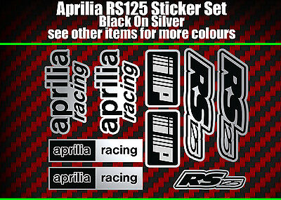 Aprilia RS125 DECALS STICKERS Silver & Black  RS 125 Racing IP, 9 Piece • 8.99£