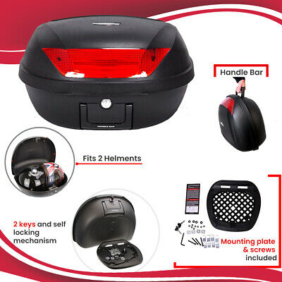 New Motorbike Motorcycle XL 52L Universal Fitting Luggage Top Box Fits 2 Helmets • 34.99£