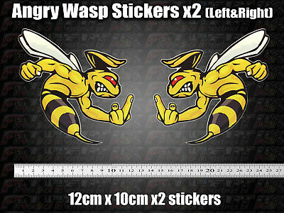 Angry Wasp Hornet Stickers Moto GP Laptop Helmet Bike Car Scooter Finger, Rude, • 4.29£