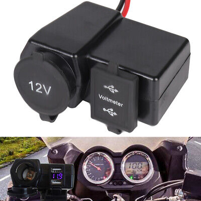 Waterproof Motorcycle Dual USB Charger Cigarette Lighter Socket Motorbike 12V • 7.09£
