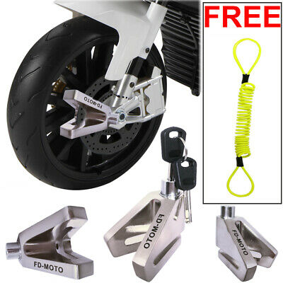 FD-MOTO Motorbike Motorcycle Scooter Disc Lock Brake + 1.5m Reminder Chrome • 10.19£