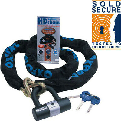 Oxford HD Motorbike Motorcycle Chain Lock Padlock 1.5m ART 4114 Sold Secure • 32.99£