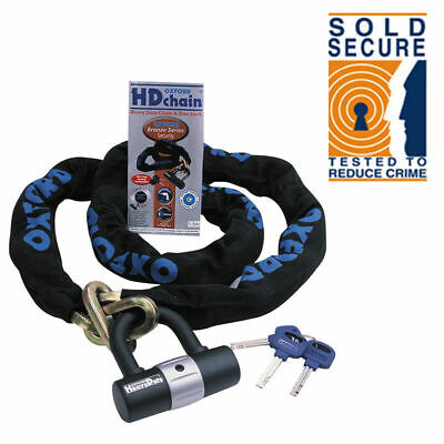 Oxford HD Motorbike Motorcycle Chain Lock Padlock 2m ART 4114 Sold Secure OF160 • 36.99£