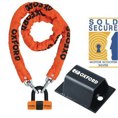 Sold Secure Oxford Motorbike Chain Lock Padlock 1.5m + Brute Force Ground Anchor • 45.99£