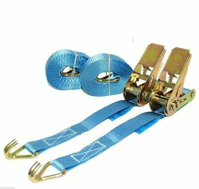 Ratchet Straps Tie Down 2 X 5 Metre  X 25mm Blue  Claw STRAP 800kg Handy Straps • 6.52£