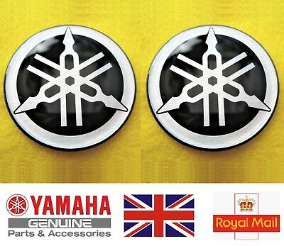 Yamaha Decal Emblem Tank Gel Badge SILVER 50mm YZF R1 R6 YZ FZ1 FJR X 2 GENUINE • 8.95£