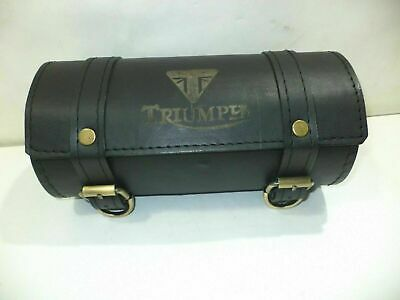 New Black Color Pure Leather Triumph Engraved Tool Roll Bag • 34.49£