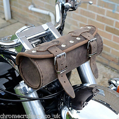Motorcycle Brown Leather Tool Roll Bag Triumph Rocket Bonneville Thunderbird • 32.99£