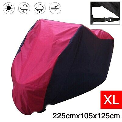 Motorcycle Waterproof XL Motor Bike Scooter Dust Rain Cover Black Red New • 7.99£