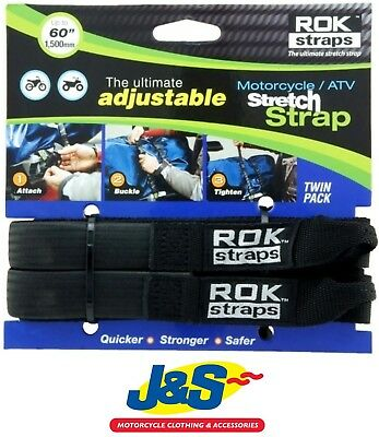 ROK Straps HD 25mm Adjustable Black Motorcycle Motorbike Luggage Cables J&S • 16.99£