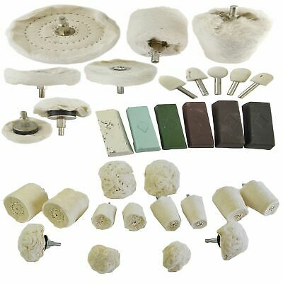 32pc Deluxe Polishing Kit Buffing Cloth Cotton Mop Drill Compounds Spindle Metal • 45.99£