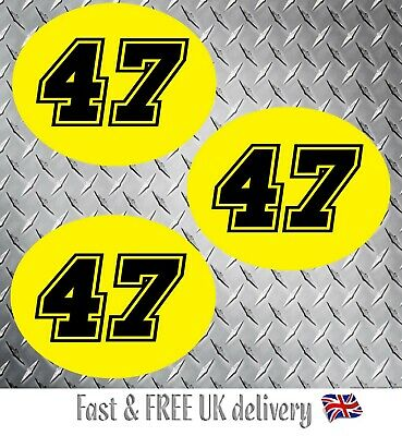 Motorbike Motorcycle Oval Race Numbers Including Background X 3 - (YB) - S2 • 7.49£