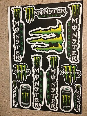 A3 Monster Can Black Sticker Sheet Decals Graphics Kit Stickers Mx Supermoto • 5.49£