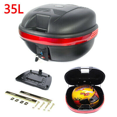 35L MOTORCYCLE TOP BOX Motorbike Helmet Luggage Storage Case Moped Universal • 17.99£