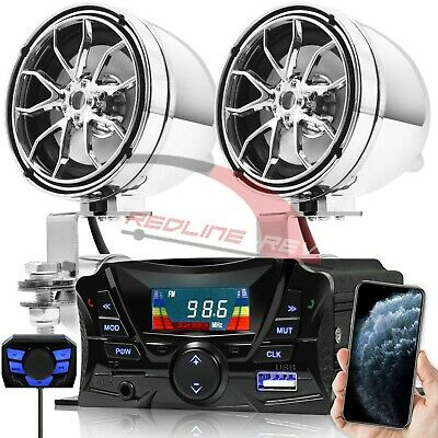 Bluetooth Motorcycle Audio Stereo Speakers System Honda Yamaha Kawasaki Harley • 35.04£