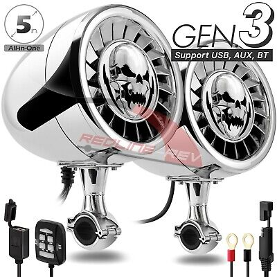 600W Amp Bluetooth Stereo 5  Speakers Audio System Harley Motorcycle Cruiser USB • 99.66£