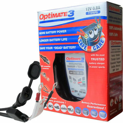 Optimate 3 Global 12v Motorcycle Battery Charger AGM/MF STD GEL 2Ah To 35Ah • 49.74£