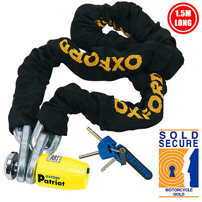 Oxford Patriot Motorcycle Sold Secure Security Brake Disc Lock And 1.5M Chain • 67.99£