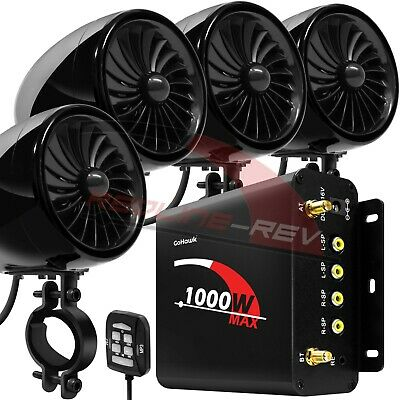 1000W Amp Motorcycle Waterproof Bluetooth Stereo 4-Speakers Audio MP3 System ATV • 101.15£