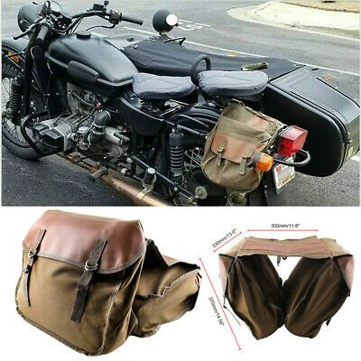 Universal Motorbike Motorcycle Canvas Saddle Luggage Bag Tail Rear Seat Panniers • 19.99£