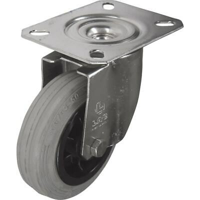 Atlas Workholders SS Swivel Plate 125MM Grey Rubber Tyre • 18.26£