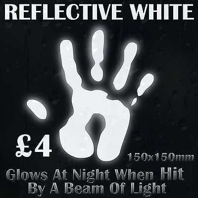 White Reflective Vinyl Sticker Glows At Night When Hit By A Beam Of Light  • 4£