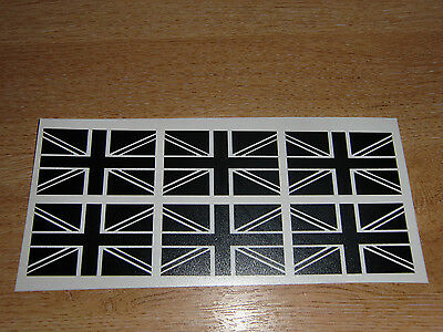 Set Of 6 Union Jack Flag Stickers (black & White) -  2  Wide Decals • 2.99£