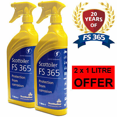 2 X 1L Scottoiler FS365 Anti Corrosion Spray Motorcycle Protects Against Salt • 22.49£