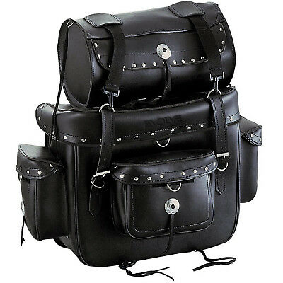 Faux Leather Heritage Custom Studded Motorcycle Sissy Bar Bag And Roll Bag Black • 66.99£