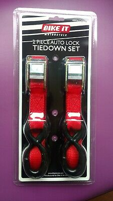 2 Piece Bike-it Bike It Motorcycle Tiedown Tie-down Straps Autolock  • 10.70£
