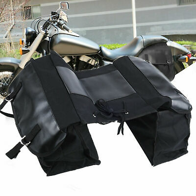 Canvas Double Sided Panniers Saddle Tail Bag Bike Motorcycle Cycle Bag • 19.99£