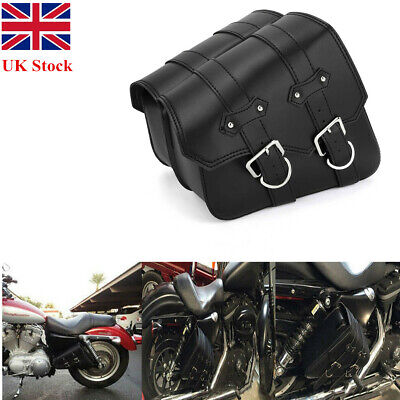 Motorcycle Saddlebags Leather Universal For Harley Sportster XL883 XL1200 Black • 24.99£