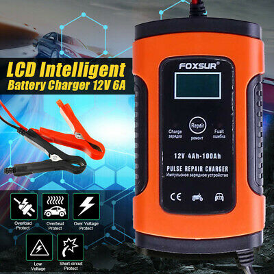 Automatic Smart Electronic Car Battery Charger 12V/24V Fast/Trickle/Pulse Modes • 13.98£