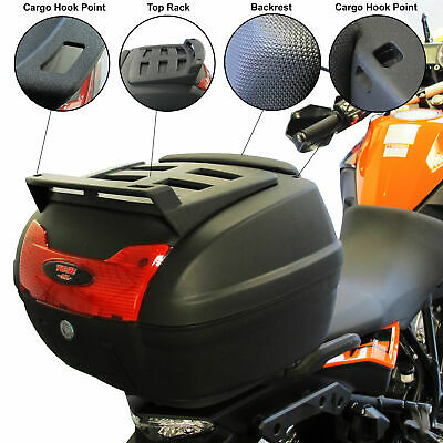 Universal 40L Motorcycle Motorbike Top Box LARGE Back Rear Luggage Case Black • 44.99£