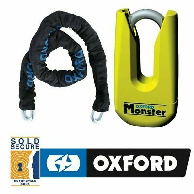 OXFORD PRODUCTS MOTORCYCLE MONSTER CHAIN 1.5Mtr AND DISC LOCK MOTORBIKE SP802 • 59.99£