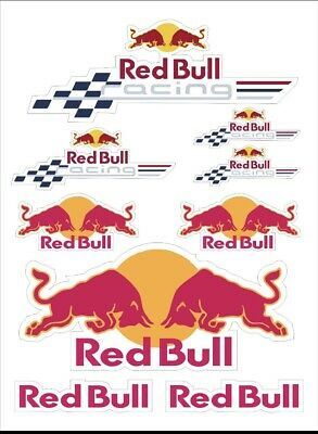 9x Red Bull  Energy Drink Stickers Dirt Pit Bike MTB Motocross Helmet BMX • 3.88£