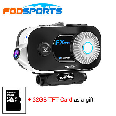 FX30C 500M Bluetooth Motorcycle Helmet Intercom Headset Interphone + FM + HD DVR • 108.99£