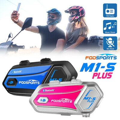 2x Motorcycle Intercom 2KM Bluetooth Helmet Interphone FM Headsets Music Sharing • 125.99£