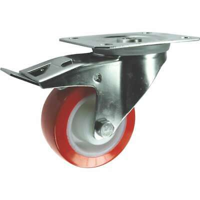 Atlas Workholders Stainless Steel Swivel Plate Castor With Brake And Polyurethan • 65.56£