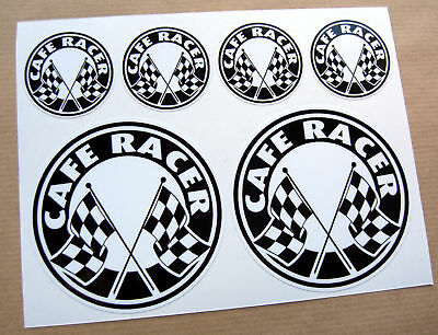 CAFE RACER Chequered Flag Logo Set Stickers Decals  • 6.95£