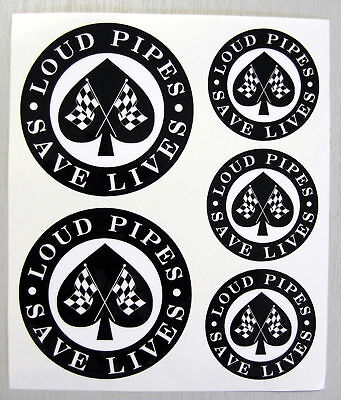 CAFE RACER Chequered Flag 'LOUD PIPES' Stickers Decals  • 6.95£
