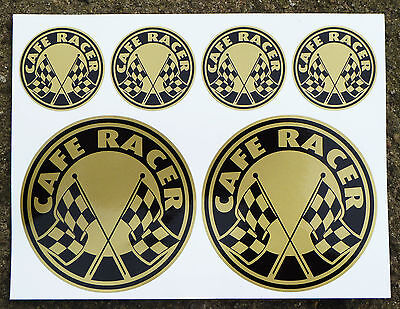 CAFE RACER GOLD Chequered Flag Logo Set Stickers Decals  • 6.95£