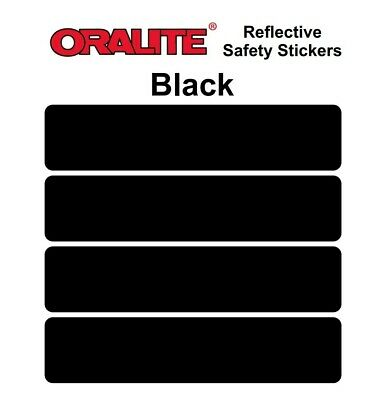 BLACK Retro- Reflective Safety Stickers Bike Motorcycle Helmet Car • 2.99£