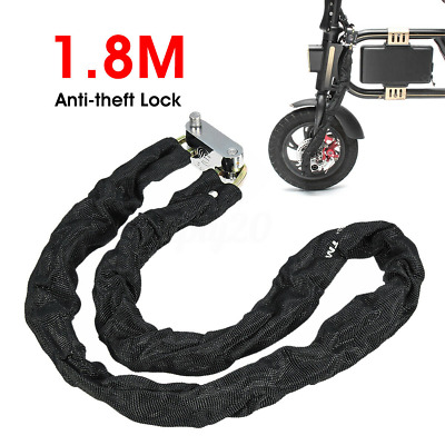 1.8M Chain Lock Bike Cycle Heavy Duty Security Padlock Motorcycle Motorbike+Keys • 7.99£