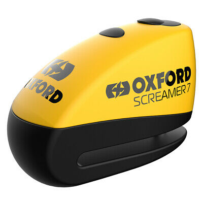 Oxford Screamer7 Alarm Disc Lock Yellow LK290 For Motorcycle Motorbike Secutiry • 29.56£
