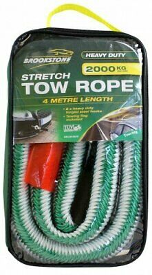 Brookstone Stretch Car Tow Rope Heavy Duty 2000KG 4 Metre Length With Tow Flag • 6.95£
