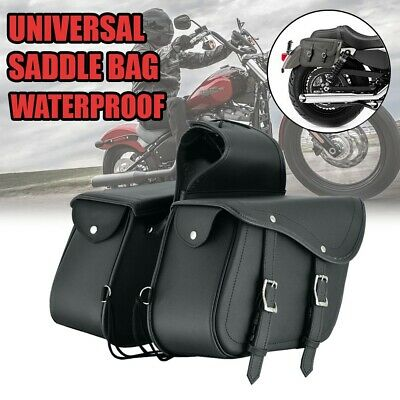 Motorcycle Side Pouch Leather Saddlebags Saddle 2 Bags Panniers Black 757 • 49.99£