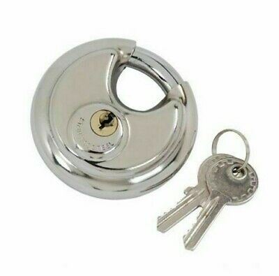 Disc Lock Round Padlock 70mm Discus 2 Keys Stainless Steel For Security Chain • 4.97£